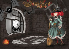 Illustration with a lock and a witch Royalty Free Stock Photos
