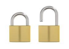 Illustration of locked and unlocked metal lock Stock Images
