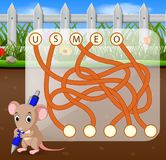 Logic puzzle game for study English with mouse stock illustration