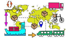 Illustration of logistics transport movements Stock Images