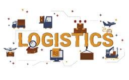 Illustration of logistics wording concept. royalty free illustration
