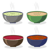 Illustration of logo for the theme homemade soups Stock Photo