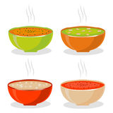 Illustration of logo for the theme homemade soups Royalty Free Stock Photos