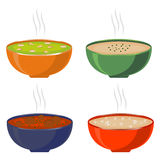 Illustration of logo for the theme homemade soups Royalty Free Stock Images