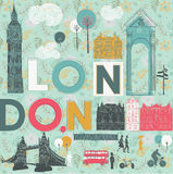 Illustration of London with landmarks Royalty Free Stock Images