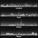 Vector illustration of London, Paris, Berlin and Rome city skylines at night in black and white color palette. Illustration of London, Paris, Berlin and Rome Stock Image