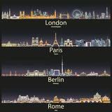 Vector illustration of London, Paris, Berlin and Rome city skylines at sunset. Illustration of London, Paris, Berlin and Rome city skylines at sunset vector illustration