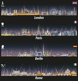Vector illustration of London, Paris, Berlin and Rome skylines at night with bright city lights. Flags and maps of United Kingdom. Illustration of London, Paris Royalty Free Stock Photography