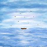 Illustration of a lonely boat Royalty Free Stock Photography