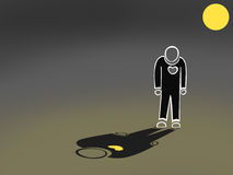 Illustration of lonely man with moon. Cartoon illustration of lonely man with moon Royalty Free Stock Images