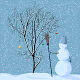 Illustration of lonely snowman near tree. Vector illustration of lonely snowman near tree in snow with Christmas balls under snowfall Royalty Free Stock Image