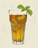 Illustration of Long island tea cocktail. Hand drawn illustration of Long island iced tea cocktail Royalty Free Stock Photography