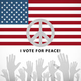 Illustration long USA flag icon with peace sign Royalty Free Stock Photography