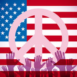 Illustration long USA flag icon with peace sign Royalty Free Stock Photos