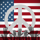 Illustration long USA flag icon with peace sign. Illustration of a long shadow USA flag icon with a peace sign Stock Image