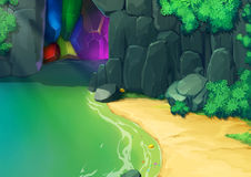 Illustration: Look, there is a Gem Cave. Royalty Free Stock Image