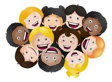 Looking up happy children on isolated Royalty Free Stock Image