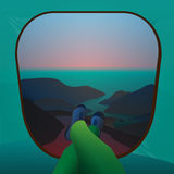Illustration of lookout the tent at sunrise in the mountains Stock Photography