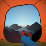 Illustration of lookout from the tent. Vector illustration of lookout the tent on a misty horizon between mountains at the ocean Royalty Free Stock Photos