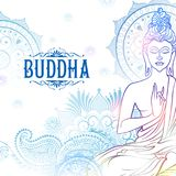 Lord Buddha in meditation for Buddhist festival of Happy Buddha Purnima Vesak Stock Photo