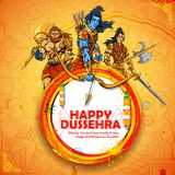Lord Rama with Laxmana and Hanuman in Dussehra Navratri festival of India poster. Illustration of Lord Rama with Laxmana and Hanuman in Dussehra Navratri Stock Images