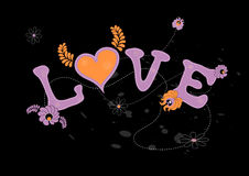 Illustration of love. With flowers. Vector Royalty Free Stock Image