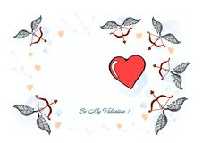 Illustration a happy Valentines Day, Valentine card. A Valentines Day illustration - I Love YOU, original designed hand-drawing. royalty free illustration