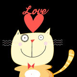Illustration with love cat Stock Photos
