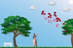 Illustration of love with couple standing in the meadow on sunshine day,paper art design for happy Valentine`s day royalty free illustration