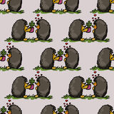 Illustration of love and friendship. Hedgehogs with cacti. Seamless pattern. Royalty Free Stock Photo