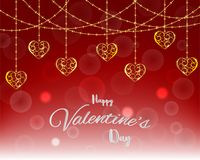 Illustration of love and happy valentine`s day,bubble with gold heart shape floating on red background with message Royalty Free Stock Photos