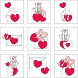 Illustration of Love icons. Ideal for Valetine Cards decoration. 9 icons. Illustration of Love icons. Ideal for Valetine Cards decoration. Hearts icons set. Cute Stock Image