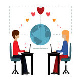 Illustration love on line Stock Image
