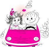 Illustration, love man and woman riding in a car Stock Photo