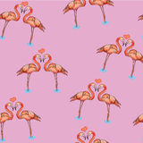 Illustration of love pink flamingos in water. Vector illustration of love pink flamingos in water. Seamless pattern on pink background Stock Photo