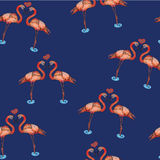 Illustration of love pink flamingos in water. Vector illustration of love pink flamingos in water. Seamless pattern on blue background Royalty Free Stock Photo