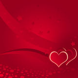 Illustration, love, sprinkling background. Red background with hearts and stars Stock Photo