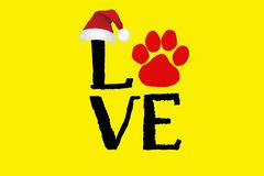 Illustration of Love text with paw print.Happy new year and merry Christmas greeting card. Illustration love text paw printhappy new year merry christmas royalty free illustration