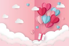 Illustration of love and valentine day with heart baloon, gift and clouds. Paper cut style. Vector illustration royalty free illustration