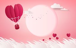 Illustration of love and valentine day,Hot air balloon flying ov royalty free stock photos