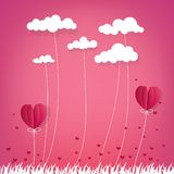 Illustration of love and valentine day,Hot air balloon flying ov stock photography