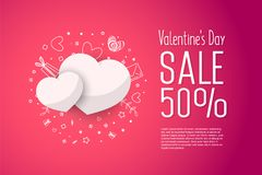 Sale 50 percent discount. illustration of valentine day. Illustration of love and valentine day. Sale 50 percent discount Royalty Free Stock Photography