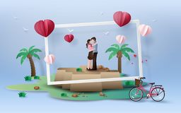 Illustration of love and valentine`s Day. royalty free illustration