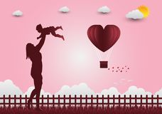 Illustration of love and Valentine`s Day, standing hand in hand, Stock Images