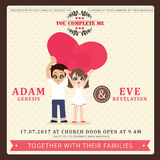 Illustration of lovely couple wedding card. Royalty Free Stock Photography