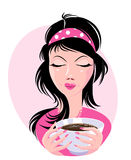 Illustration of lovely girl holding a cup of delicious coffee. Stock Image