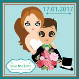 Illustration of lovely sweet couple wedding card. Stock Images