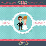 Illustration of lovely sweet couple wedding card. Royalty Free Stock Images