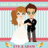Illustration of lovely sweet couple wedding card. Stock Photo