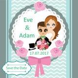 Illustration of lovely sweet couple wedding card. Royalty Free Stock Photo